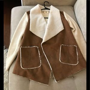 Moth faux suede sherpa sweater (Anthropologie)